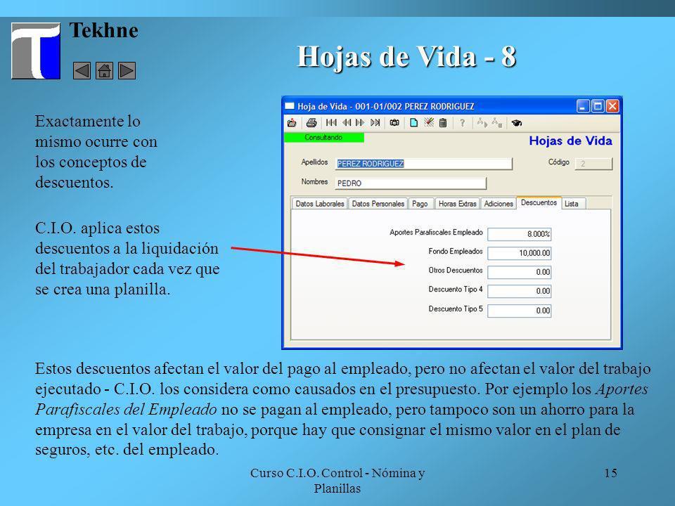 Curso C.I.O. Control - Nómina y Planillas 15 Tekhne Hojas de Vida - 8 Exactamente lo mismo ocurre con los conceptos de descuentos. C.I.O. aplica estos