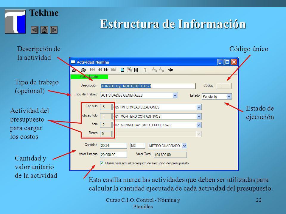 Curso C.I.O. Control - Nómina y Planillas 22 Tekhne Estructura de Información Estado de ejecución Código único Tipo de trabajo (opcional) Actividad de