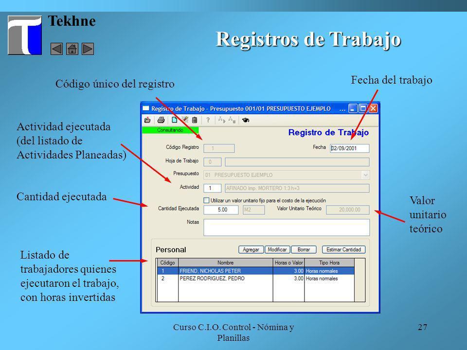 Curso C.I.O. Control - Nómina y Planillas 27 Tekhne Registros de Trabajo Actividad ejecutada (del listado de Actividades Planeadas) Código único del r