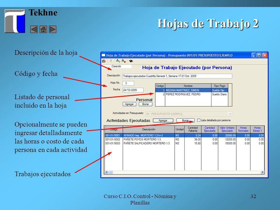 Curso C.I.O. Control - Nómina y Planillas 32 Tekhne Hojas de Trabajo 2 Descripción de la hoja Listado de personal incluido en la hoja Código y fecha T