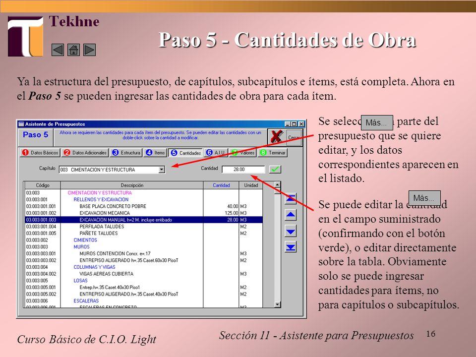 16 Paso 5 - Cantidades de Obra Curso Básico de C.I.O. Light Sección 11 - Asistente para Presupuestos Ya la estructura del presupuesto, de capítulos, s