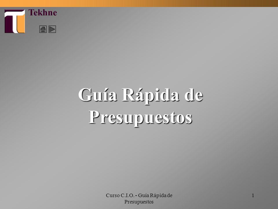 Curso C.I.O. - Guía Rápida de Presupuestos 1 Guía Rápida de Presupuestos Tekhne