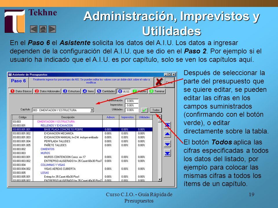 Curso C.I.O. - Guía Rápida de Presupuestos 19 En el Paso 6 el Asistente solicita los datos del A.I.U. Los datos a ingresar dependen de la configuració