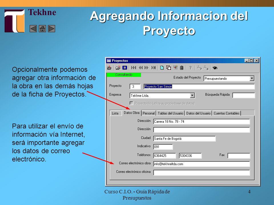 Curso C.I.O. - Guía Rápida de Presupuestos 4 Opcionalmente podemos agregar otra información de la obra en las demás hojas de la ficha de Proyectos. Pa