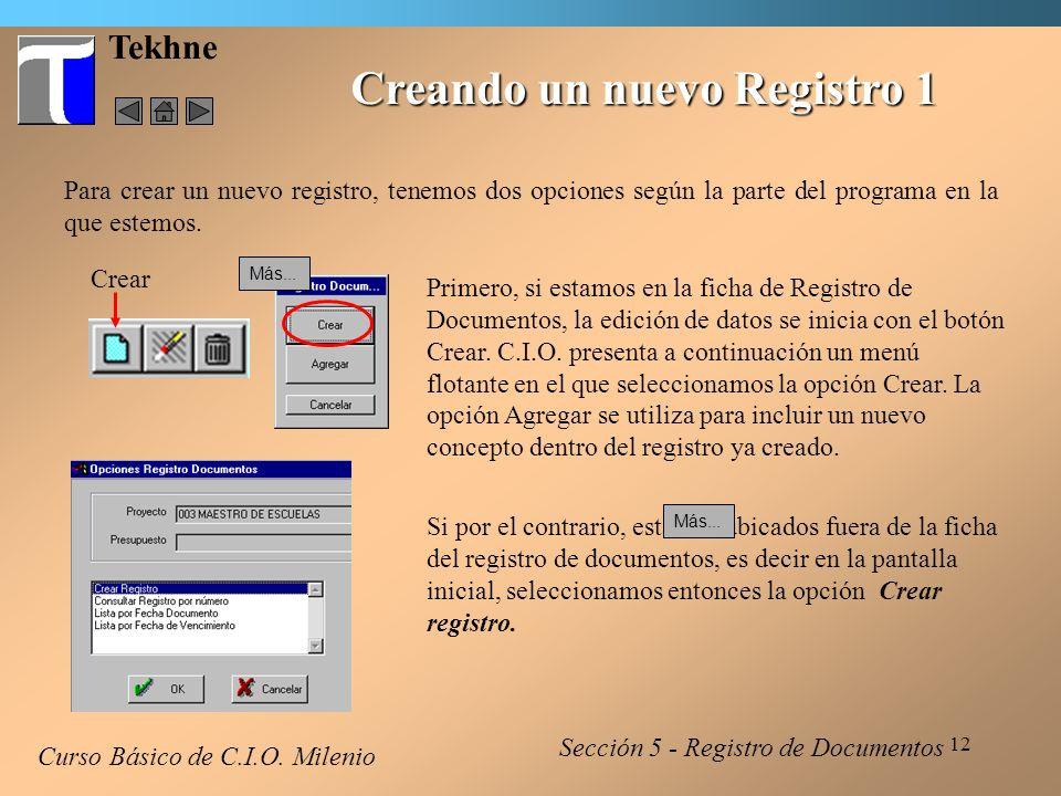 13 Tekhne Creando un nuevo Registro 2 Curso Básico de C.I.O.