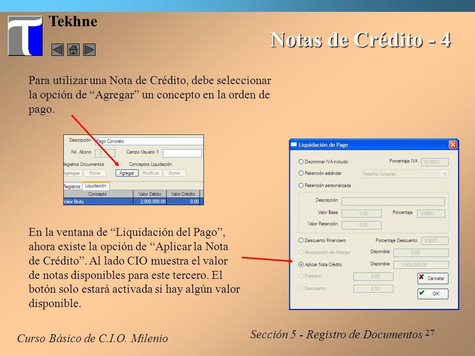 28 Tekhne Notas de Crédito - 5 La nota de crédito aparece en la liquidación.