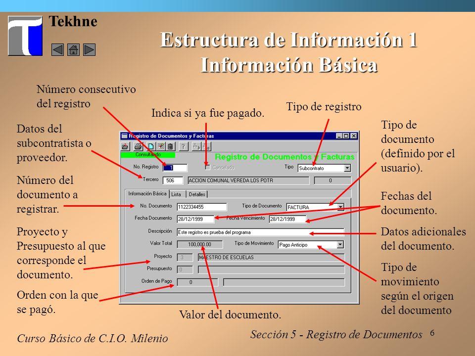 7 Tekhne Estructura de Información 2 Información Básica Curso Básico de C.I.O.