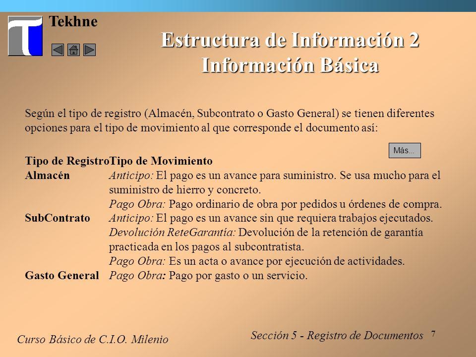 8 Tekhne Estructura de Información 3 Detalles - Almacén Curso Básico de C.I.O.