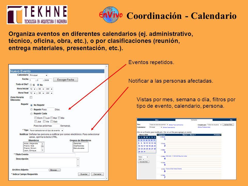 Organiza eventos en diferentes calendarios (ej. administrativo, técnico, oficina, obra, etc.), o por clasificaciones (reunión, entrega materiales, pre