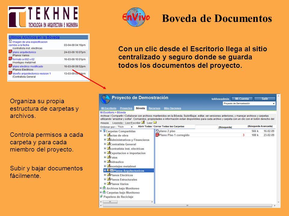 Con un clic desde el Escritorio llega al sitio centralizado y seguro donde se guarda todos los documentos del proyecto. Organiza su propia estructura