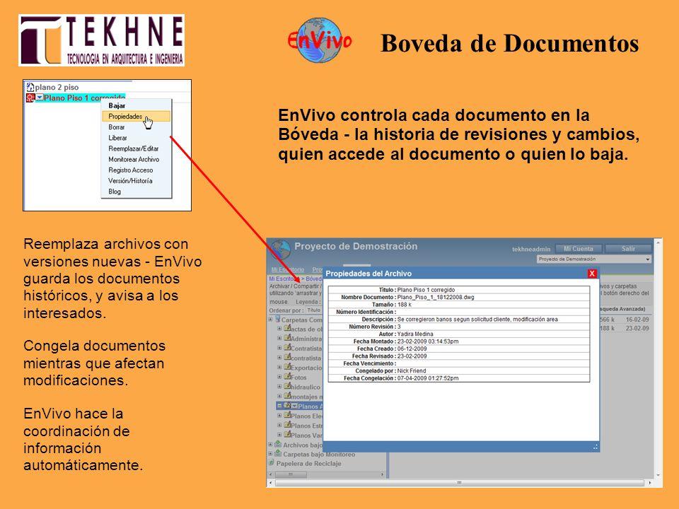 EnVivo controla cada documento en la Bóveda - la historia de revisiones y cambios, quien accede al documento o quien lo baja. EnVivo hace la coordinac
