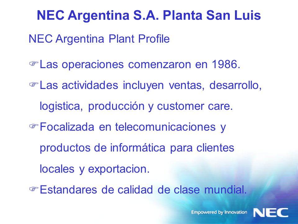 Infrastructura de la Planta San Luis FSuperficie total: 12.000 m 2 F Area total edificada: 1.800 m 2 F Area de produccion: 1.200 m 2 F Almacen de partes : 300 m 2 FArea de desarrollo de software 300 m 2 NEC Argentina S.A.