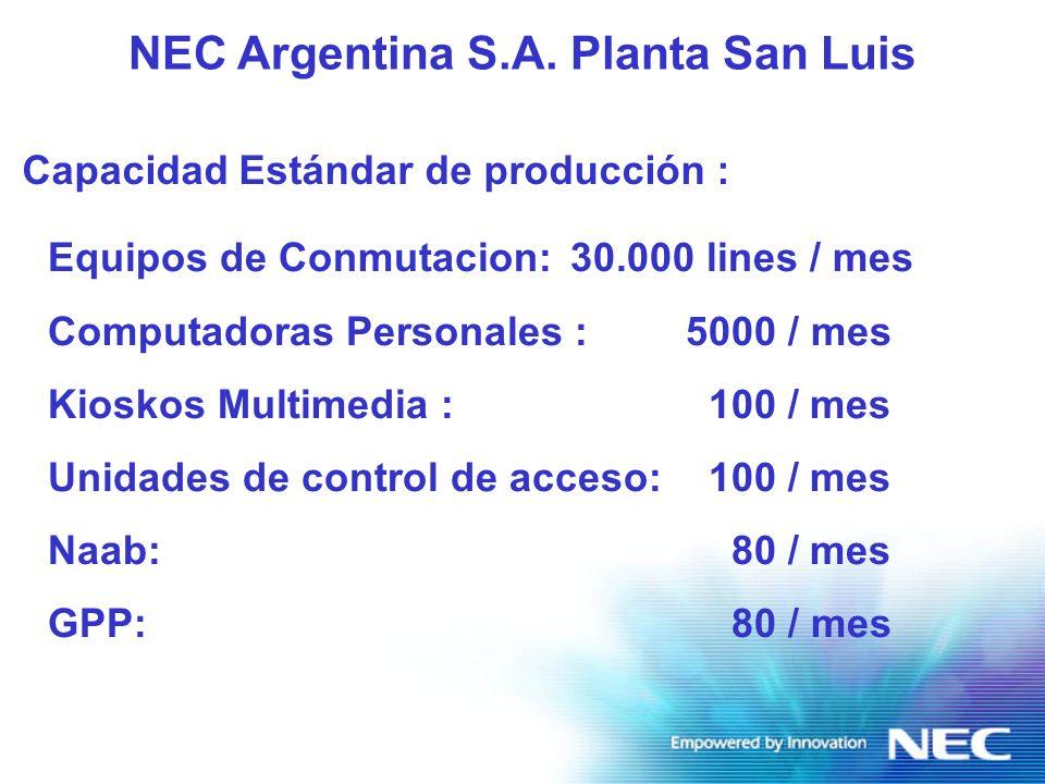 Producción Proceso de Montaje Superficial F Aplicación de pasta de soldar y adhesivo de precisión F Equipamiento para montaje de componentes de paso fino (Fine pitch 0.4 NEC Argentina S.A.