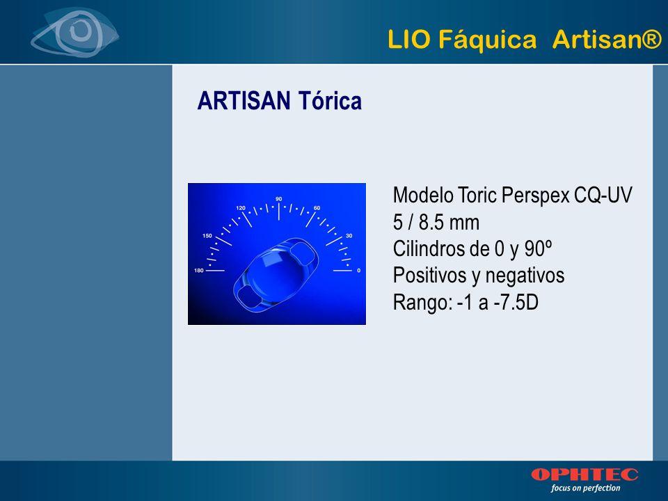 ARTISAN Tórica LIO Fáquica Artisan® Modelo Toric Perspex CQ-UV 5 / 8.5 mm Cilindros de 0 y 90º Positivos y negativos Rango: -1 a -7.5D