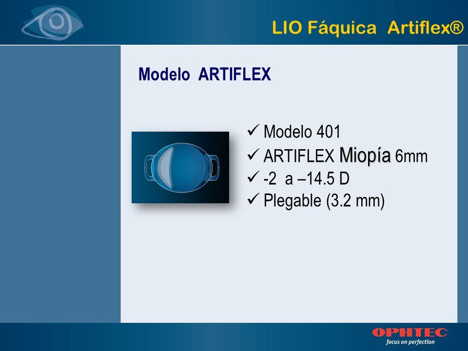 Modelo 401 Miopía ARTIFLEX Miopía 6mm -2 a –14.5 D Plegable (3.2 mm) Modelo ARTIFLEX LIO Fáquica Artiflex®