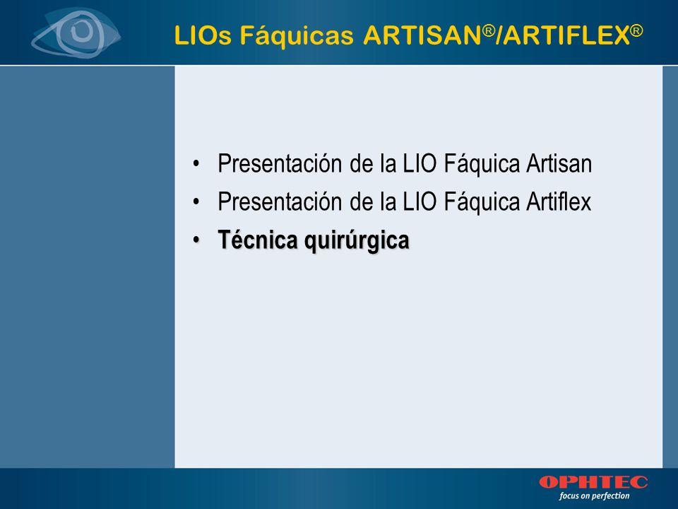 LIOs Fáquicas ARTISAN ® /ARTIFLEX ® Presentación de la LIO Fáquica Artisan Presentación de la LIO Fáquica Artiflex Técnica quirúrgica Técnica quirúrgi
