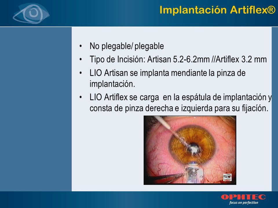 No plegable/ plegable Tipo de Incisión: Artisan 5.2-6.2mm //Artiflex 3.2 mm LIO Artisan se implanta mendiante la pinza de implantación. LIO Artiflex s