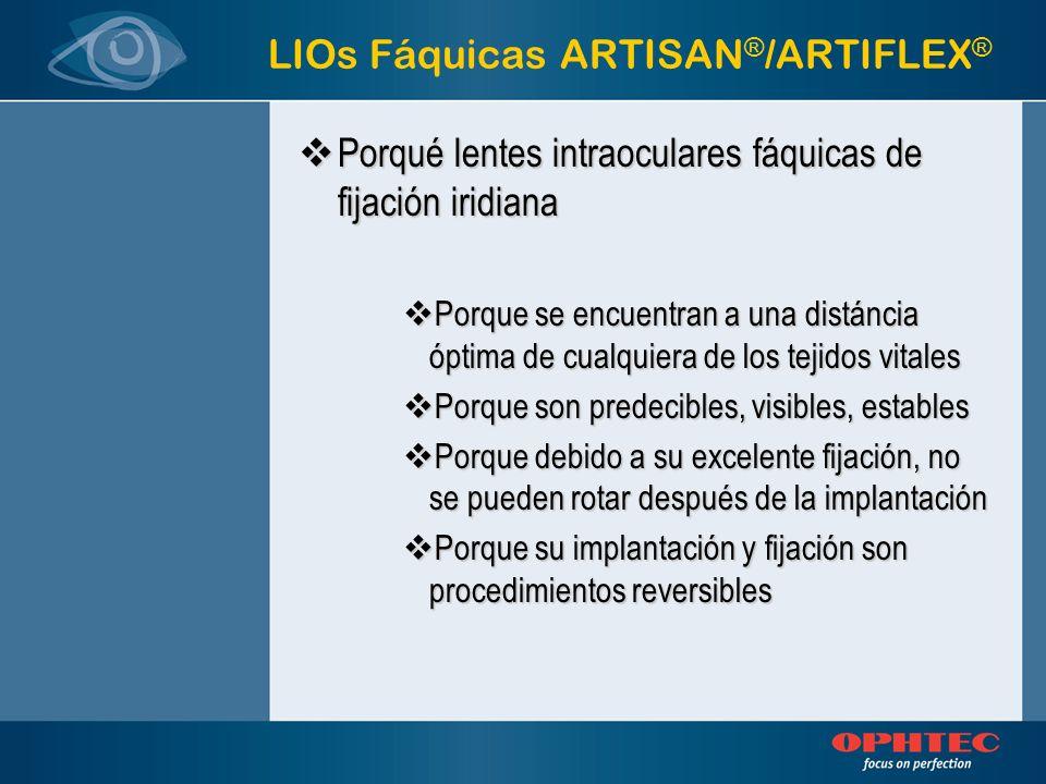 ARTIFLEX ® LIOs Fáquicas LIO Artiflex: –Material de silicona –LIO plegable –Incisión de 3.2mm –Corrige altas aberraciones refractivas (miopía de –2 a –14.5 e hipermetropía de +1 a +12) –No corrige astigmatismo