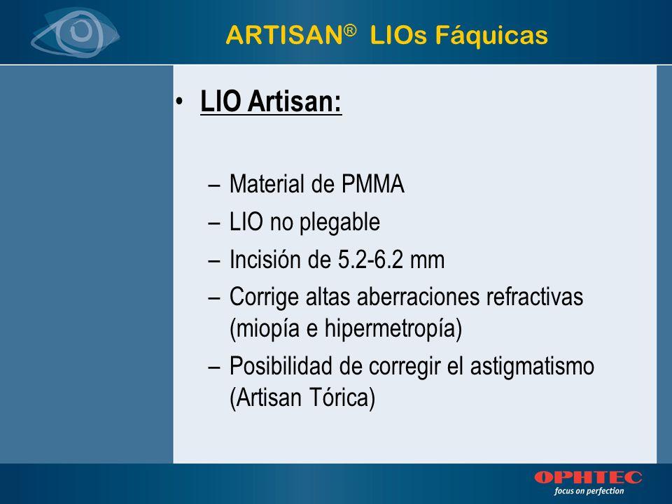 Modelo 206 PMMA Miopía Miopía 5 / 8.5 mm -1 a –23.5D Modelo 204 PMMA Miopía Miopía 6 / 8.5 mm -1 a –15.5 D Modelo 203 PMMA Hipermetropía Hipermetropía 5 / 8.5 mm +1 a +12 D LIO Fáquica Artisan® Modelos ARTISAN