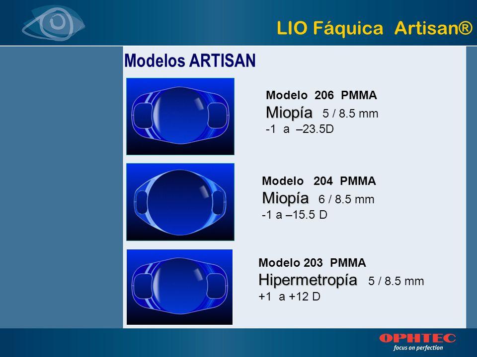 Modelo 206 PMMA Miopía Miopía 5 / 8.5 mm -1 a –23.5D Modelo 204 PMMA Miopía Miopía 6 / 8.5 mm -1 a –15.5 D Modelo 203 PMMA Hipermetropía Hipermetropía