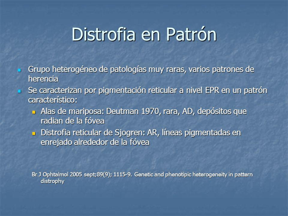 Distrofia en Patrón Grupo heterogéneo de patologías muy raras, varios patrones de herencia Grupo heterogéneo de patologías muy raras, varios patrones