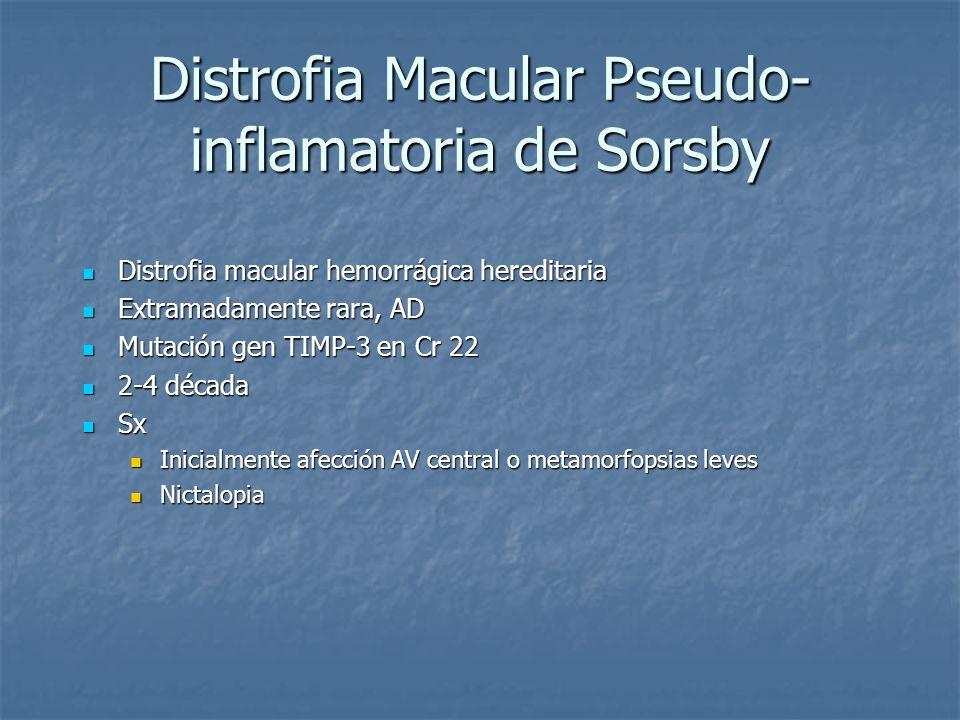 Distrofia Macular Pseudo- inflamatoria de Sorsby Distrofia macular hemorrágica hereditaria Distrofia macular hemorrágica hereditaria Extramadamente ra