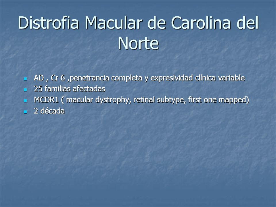Distrofia Macular de Carolina del Norte AD, Cr 6,penetrancia completa y expresividad clínica variable AD, Cr 6,penetrancia completa y expresividad clí