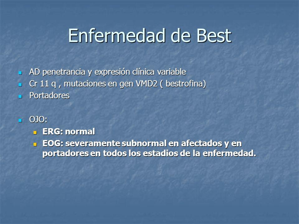 Enfermedad de Best AD penetrancia y expresión clínica variable AD penetrancia y expresión clínica variable Cr 11 q, mutaciones en gen VMD2 ( bestrofin