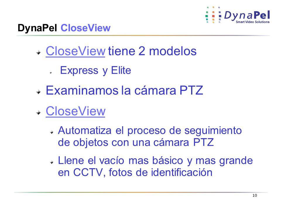 Smart Video Solutions 10 DynaPel CloseView CloseView tiene 2 modelos Express y Elite Examinamos la cámara PTZ CloseView Automatiza el proceso de segui