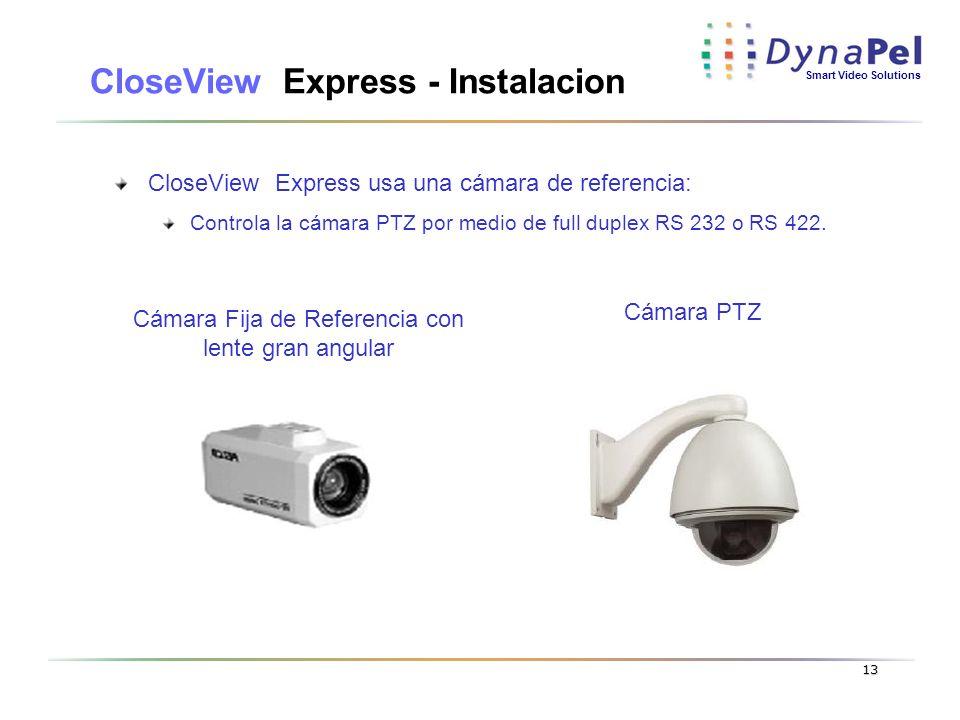 Smart Video Solutions 13 CloseView Express - Instalacion CloseView Express usa una cámara de referencia: Controla la cámara PTZ por medio de full dupl