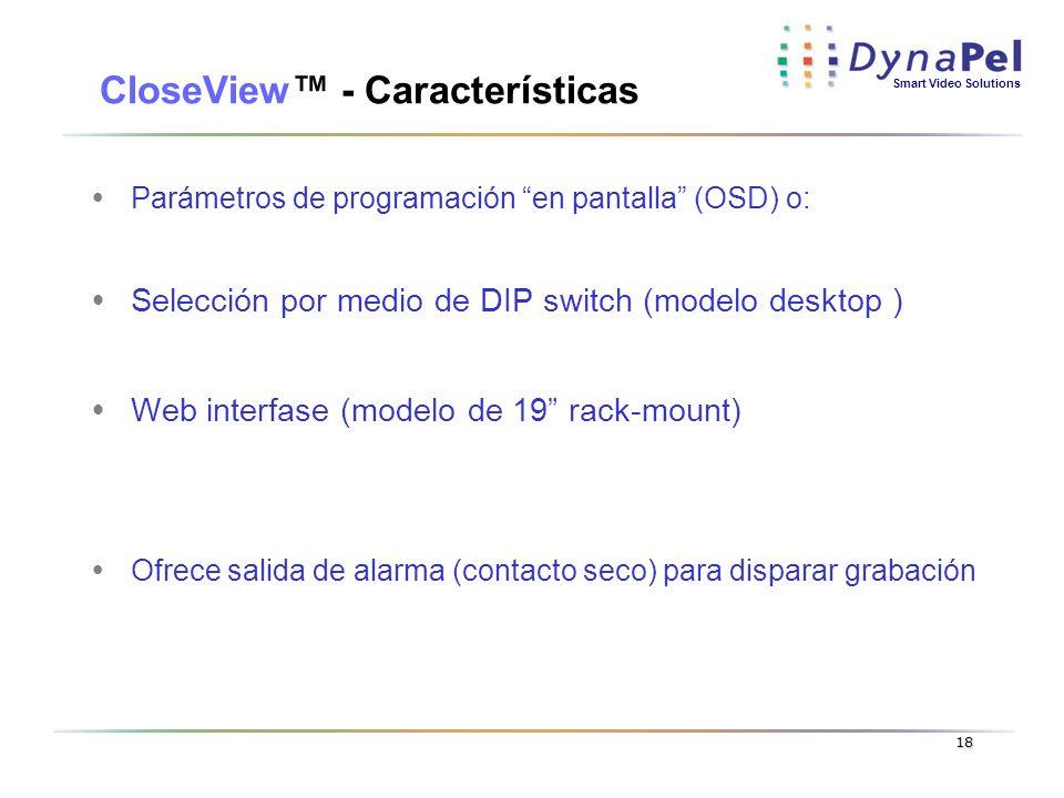 Smart Video Solutions 18 CloseView - Características Parámetros de programación en pantalla (OSD) o: Selección por medio de DIP switch (modelo desktop