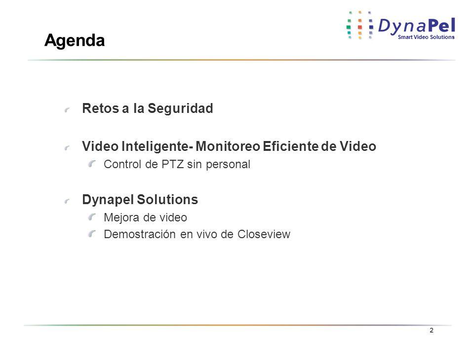 Smart Video Solutions 2 Agenda Retos a la Seguridad Video Inteligente- Monitoreo Eficiente de Video Control de PTZ sin personal Dynapel Solutions Mejo