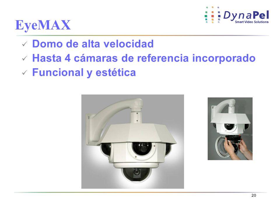 Smart Video Solutions 20 Domo de alta velocidad Hasta 4 cámaras de referencia incorporado Funcional y estética EyeMAX