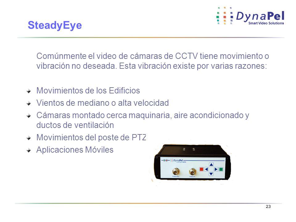 Smart Video Solutions 23 Comúnmente el video de cámaras de CCTV tiene movimiento o vibración no deseada. Esta vibración existe por varias razones: Mov