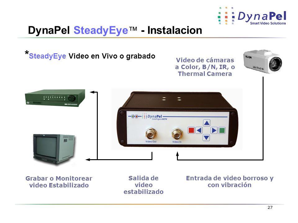 Smart Video Solutions 27 DynaPel SteadyEye - Instalacion Entrada de video borroso y con vibración Salida de video estabilizado Video de cámaras a Colo
