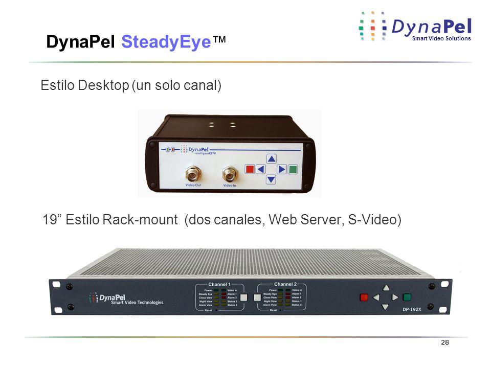 Smart Video Solutions 28 DynaPel SteadyEye 19 Estilo Rack-mount (dos canales, Web Server, S-Video) Estilo Desktop (un solo canal)
