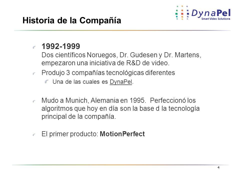 Smart Video Solutions 4 Historia de la Compañía 1992-1999 Dos científicos Noruegos, Dr. Gudesen y Dr. Martens, empezaron una iniciativa de R&D de vide