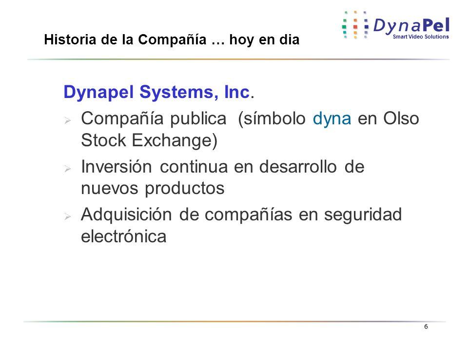 Smart Video Solutions 6 Historia de la Compañía … hoy en dia Dynapel Systems, Inc. Compañía publica (símbolo dyna en Olso Stock Exchange) Inversión co