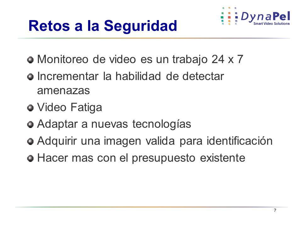 Smart Video Solutions 7 Retos a la Seguridad Monitoreo de video es un trabajo 24 x 7 Incrementar la habilidad de detectar amenazas Video Fatiga Adapta