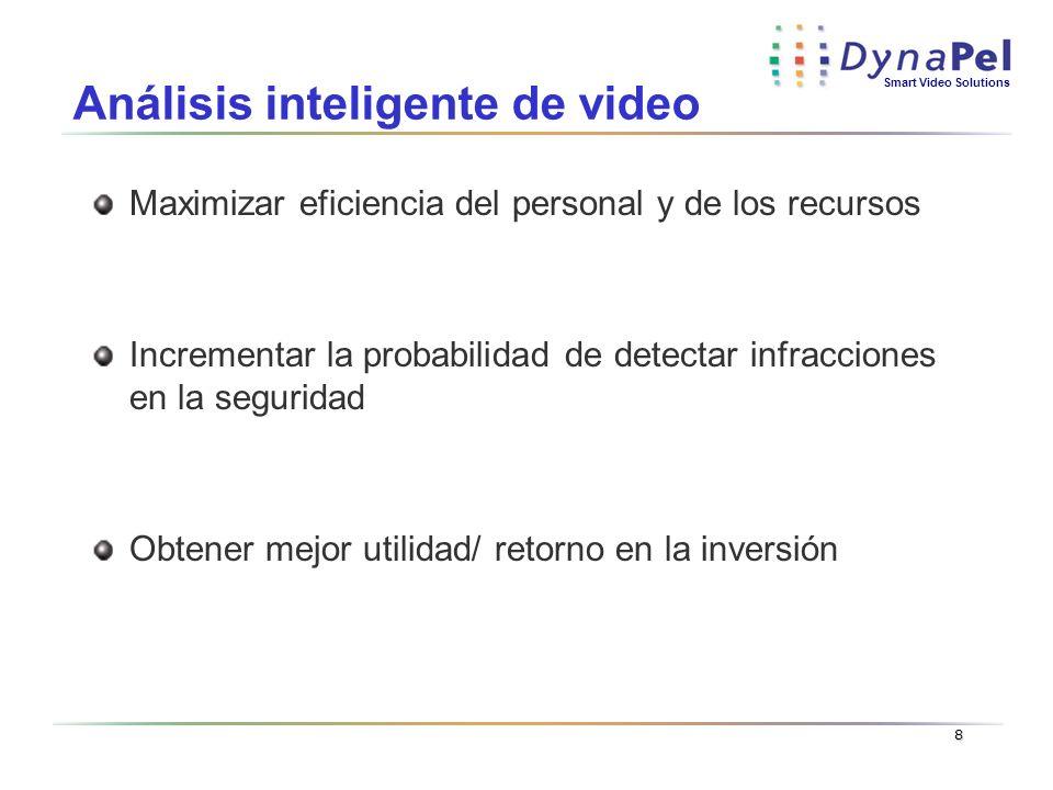 Smart Video Solutions 8 Análisis inteligente de video Maximizar eficiencia del personal y de los recursos Incrementar la probabilidad de detectar infr