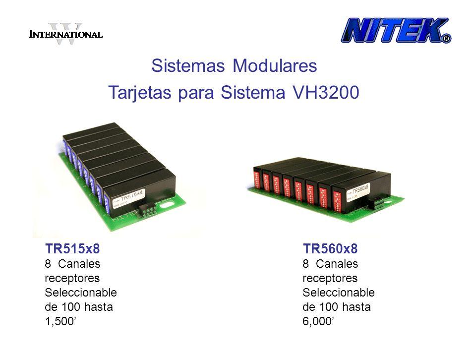 TR515x8 8 Canales receptores Seleccionable de 100 hasta 1,500 Sistemas Modulares Tarjetas para Sistema VH3200 TR560x8 8 Canales receptores Seleccionab