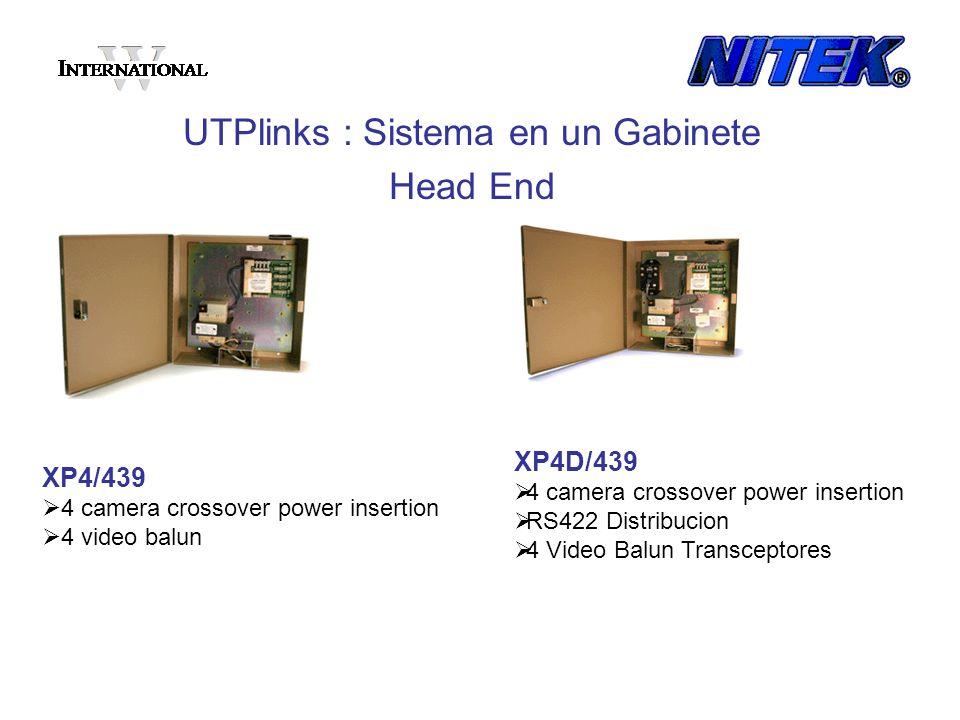 XP4/439 4 camera crossover power insertion 4 video balun UTPlinks : Sistema en un Gabinete Head End XP4D/439 4 camera crossover power insertion RS422