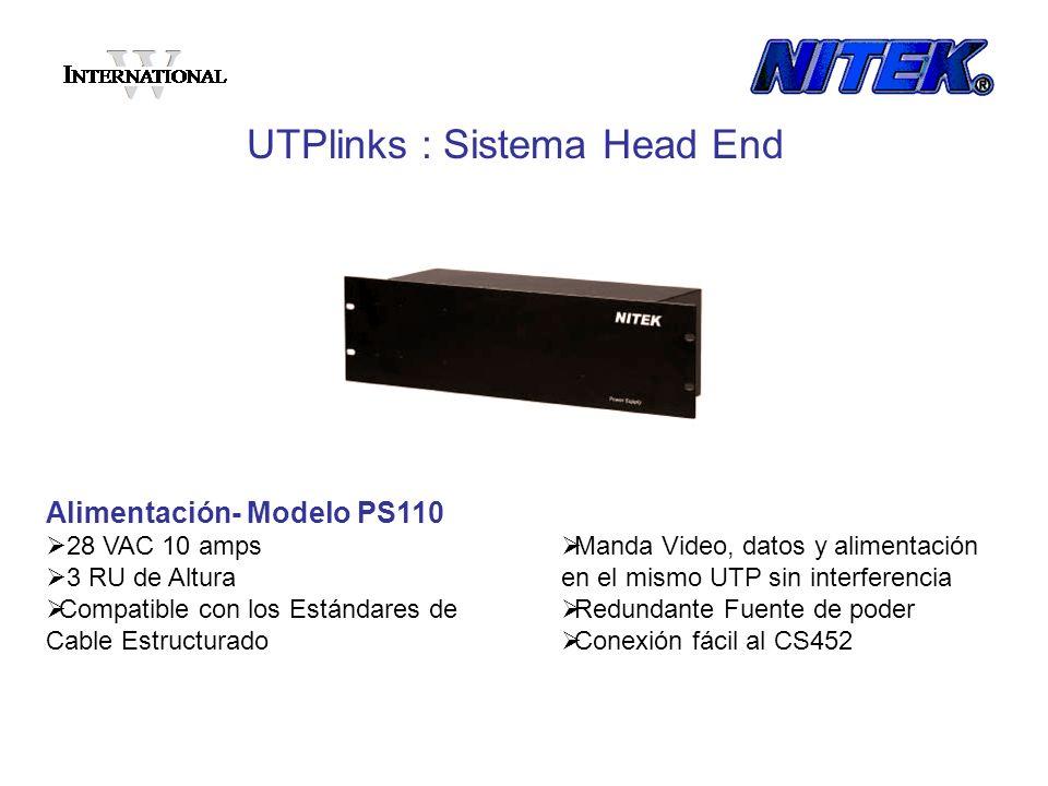 Alimentación- Modelo PS110 28 VAC 10 amps 3 RU de Altura Compatible con los Estándares de Cable Estructurado UTPlinks : Sistema Head End Manda Video,
