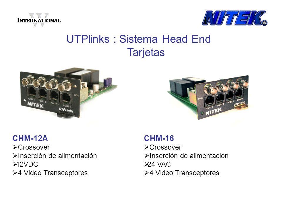 CHM-12A Crossover Inserción de alimentación 12VDC 4 Video Transceptores UTPlinks : Sistema Head End Tarjetas CHM-16 Crossover Inserción de alimentació