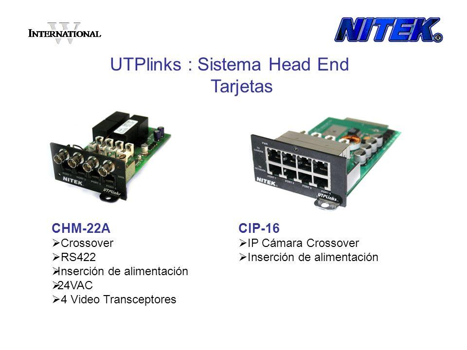 CHM-22A Crossover RS422 Inserción de alimentación 24VAC 4 Video Transceptores UTPlinks : Sistema Head End Tarjetas CIP-16 IP Cámara Crossover Inserció