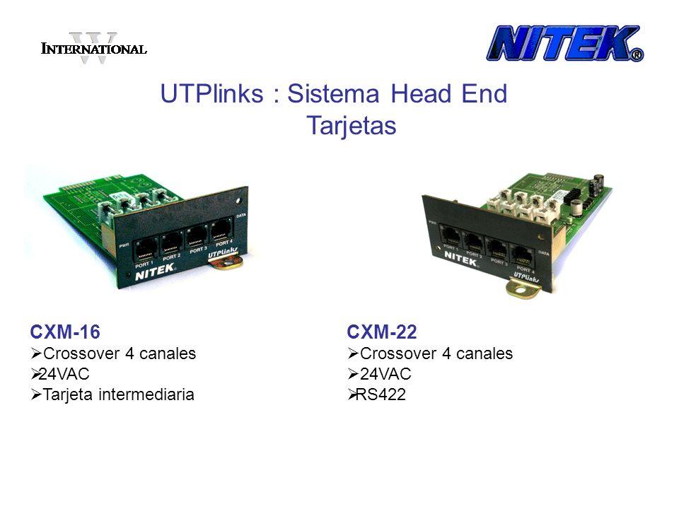 CXM-16 Crossover 4 canales 24VAC Tarjeta intermediaria UTPlinks : Sistema Head End Tarjetas CXM-22 Crossover 4 canales 24VAC RS422