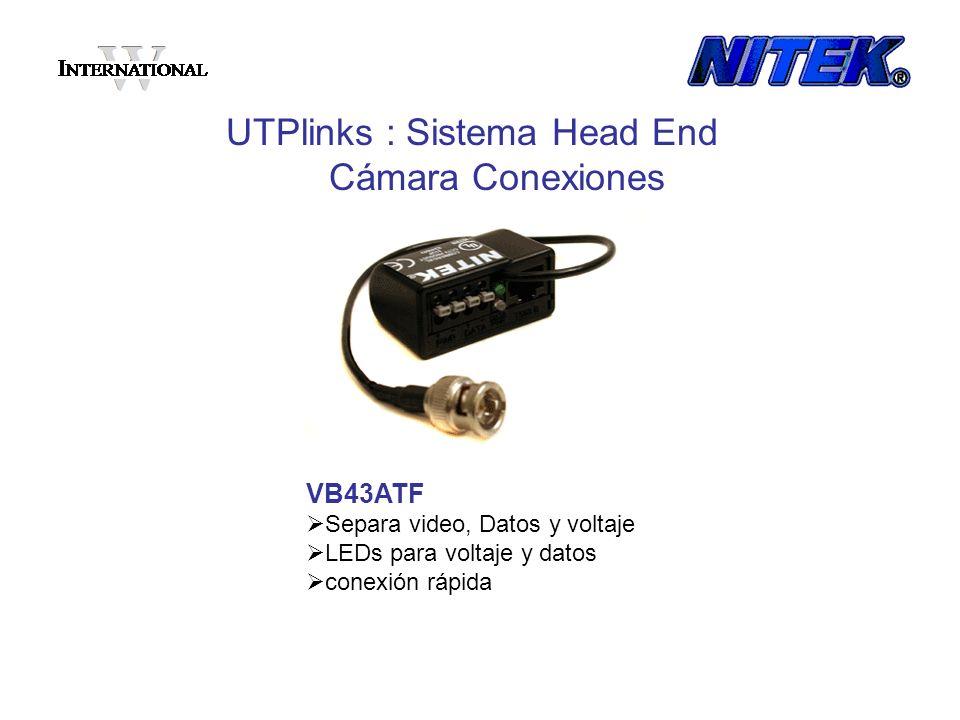 VB43ATF Separa video, Datos y voltaje LEDs para voltaje y datos conexión rápida UTPlinks : Sistema Head End Cámara Conexiones