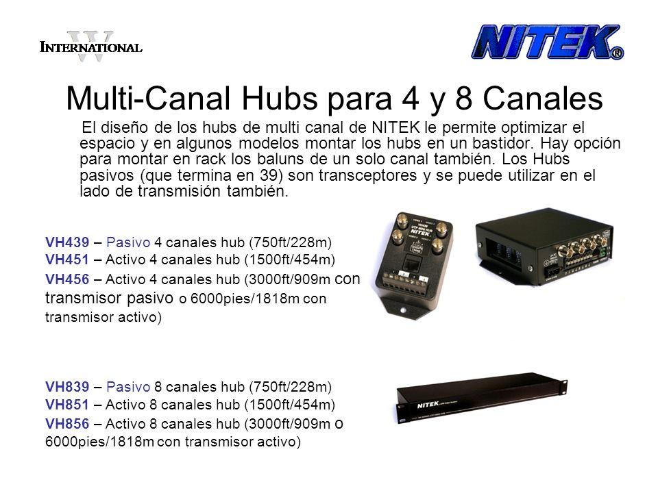 Multi-Canal Hubs para 4 y 8 Canales El diseño de los hubs de multi canal de NITEK le permite optimizar el espacio y en algunos modelos montar los hubs