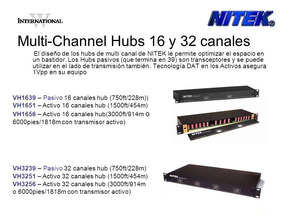 Multi-Channel Hubs 16 y 32 canales El diseño de los hubs de multi canal de NITEK le permite optimizar el espacio en un bastidor. Los Hubs pasivos (que
