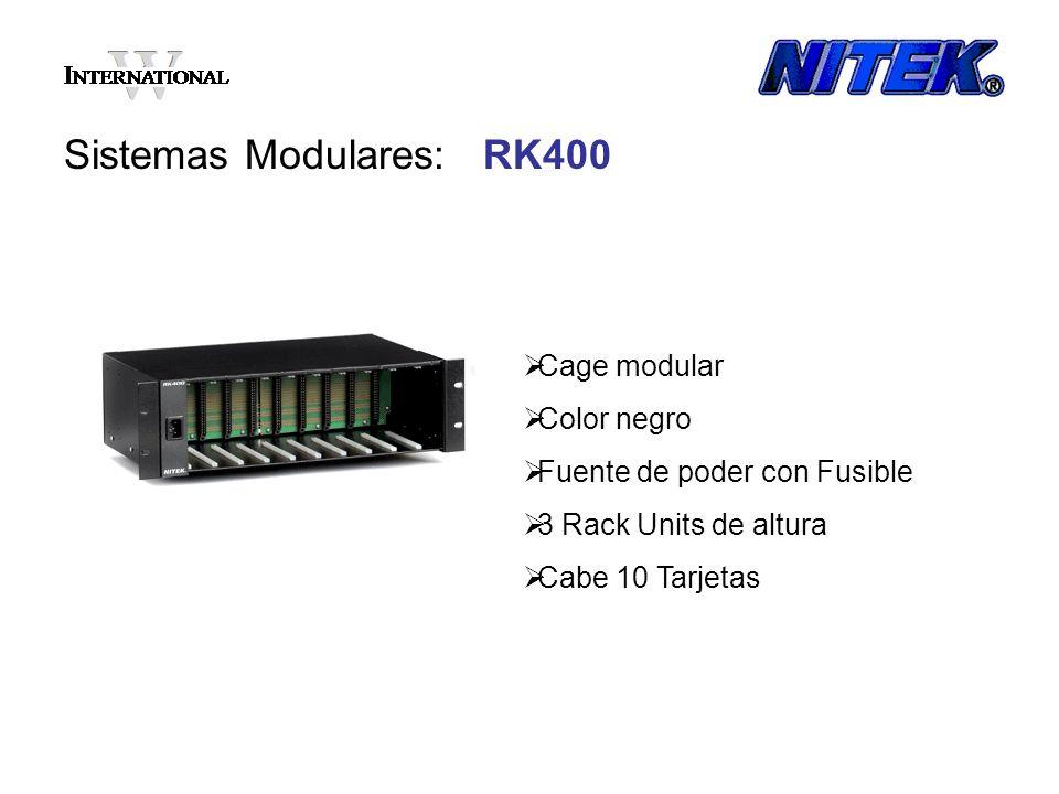 Sistemas Modulares: RK400 Cage modular Color negro Fuente de poder con Fusible 3 Rack Units de altura Cabe 10 Tarjetas